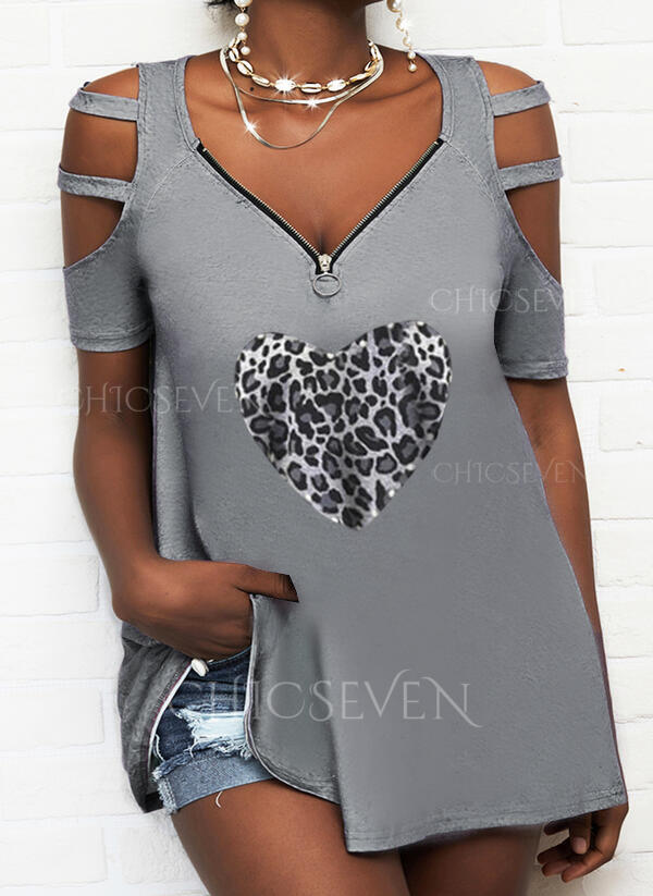 Leopard Beaded Heart Cold Shoulder Short Sleeves Casual Blouses