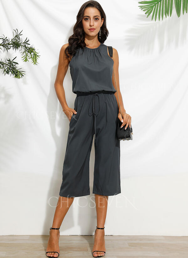 Solid Sleeveless Casual Jumpsuits Dresses