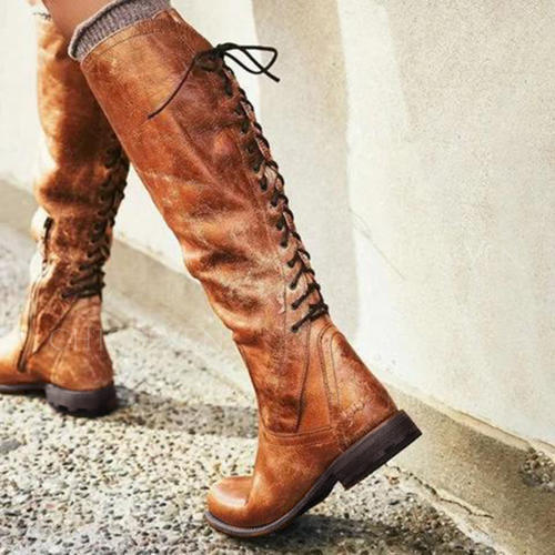 Women's PU Low Heel Boots Knee High Boots With Lace-up shoes