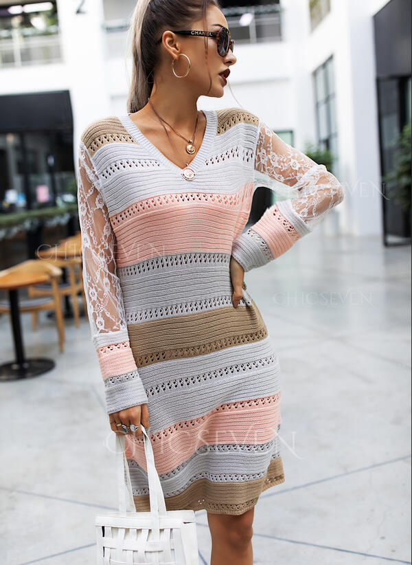 Lace/Color Block Long Sleeves Sheath Above Knee Casual Sweater Dresses
