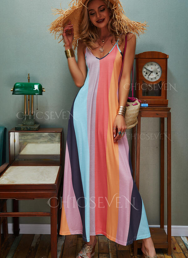 Color Block Sleeveless A-line Slip/Skater Casual/Vacation Maxi Dresses