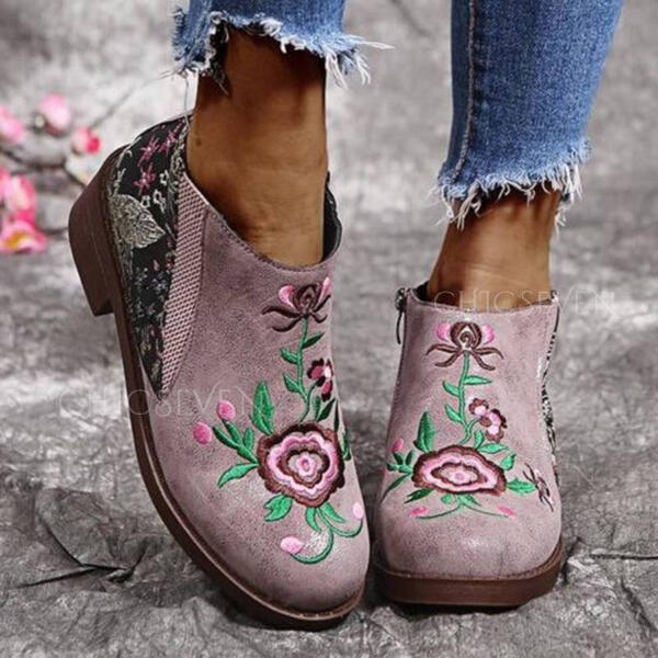 Women's PU Chunky Heel Ankle Boots Round Toe With Flower Floral shoes
