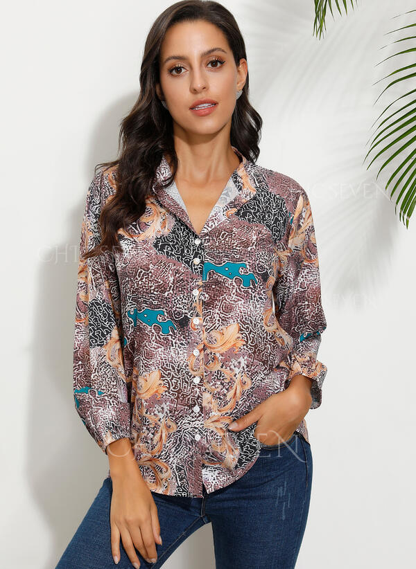 Print Round Neck Long Sleeves Button Up Casual Shirt Blouses