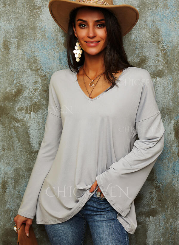Solid V-Neck Flare Sleeve Long Sleeves Casual Basic Blouses