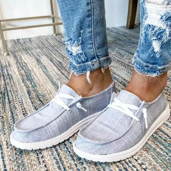 Women's Canvas Flat Heel Flats Slip On With Lace-up shoes