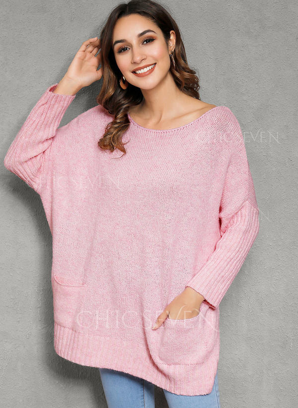 Solid Pocket Round Neck Oversized Casual Sweaters