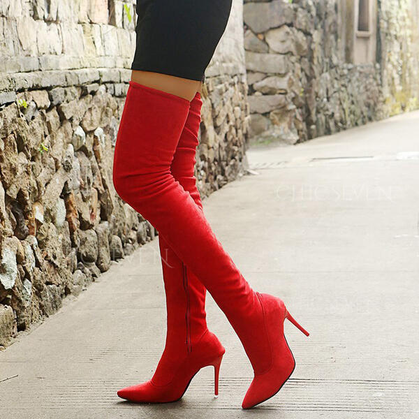 Women's Cloth Chunky Heel Over The Knee Boots Pointed Toe With Zipper Splice Color shoes