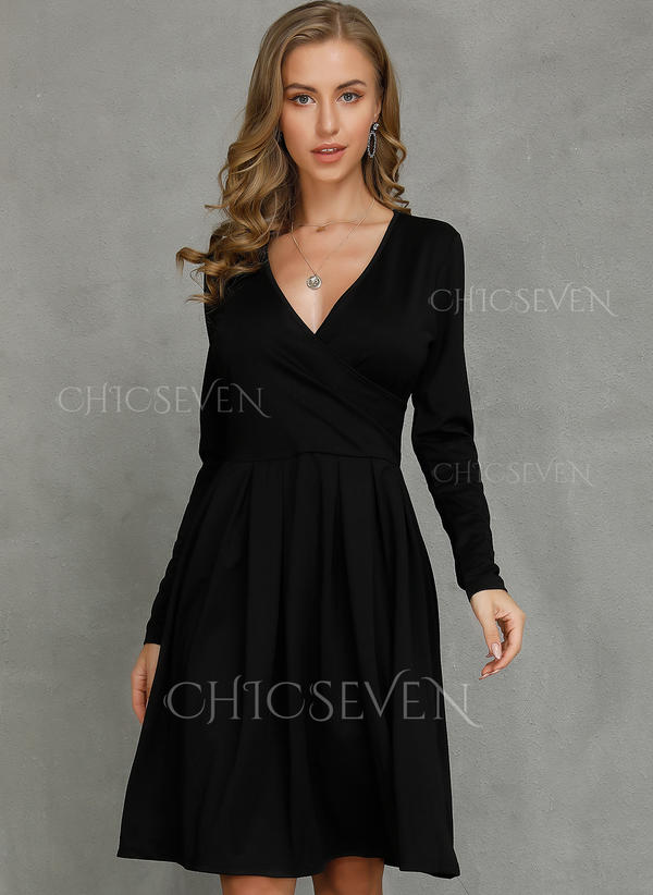 Solid Long Sleeves A-line Knee Length Little Black/Casual/Party Skater Dresses