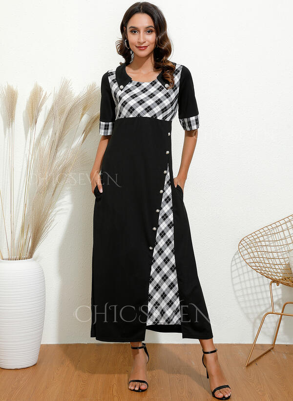 Plaid 1/2 Sleeves A-line Casual/Elegant Maxi Dresses