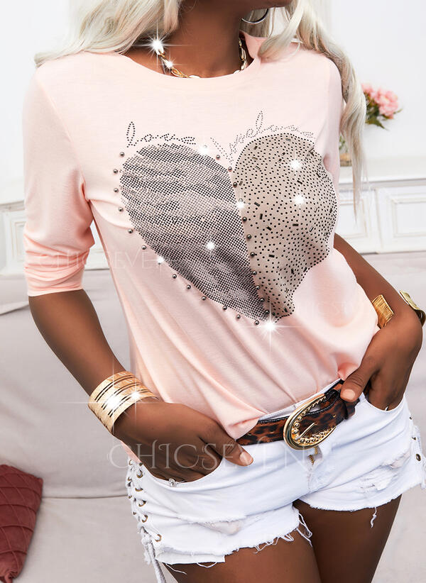 Beaded Heart Sequins Letter Round Neck Long Sleeves T-shirts