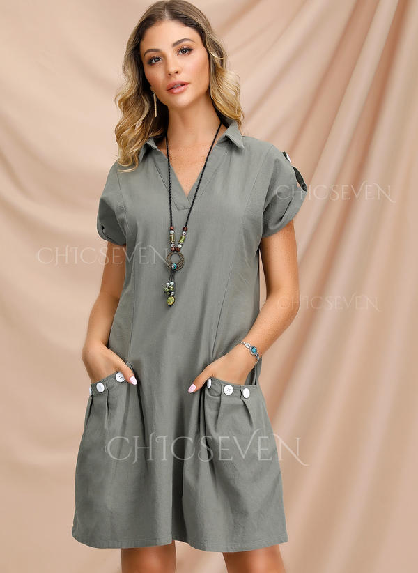 Solid Short Sleeves A-line Knee Length Little Black/Casual Dresses
