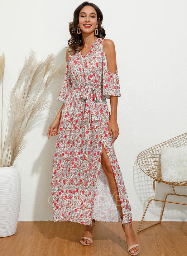 Print/Floral 3/4 Sleeves/Cold Shoulder Sleeve A-line Casual/Elegant/Vacation Maxi Dresses