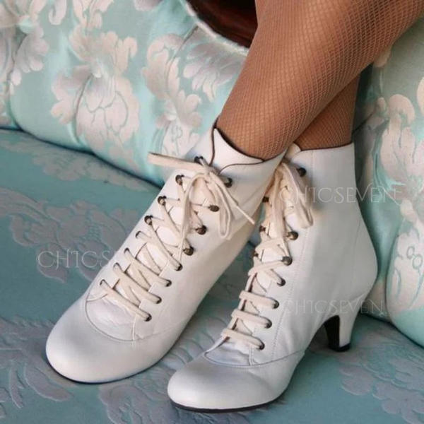 Women's PU Spool Heel Ankle Boots With Lace-up shoes