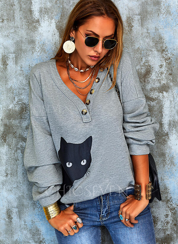 Animal Print V-Neck Long Sleeves Button Up Casual Knit Blouses