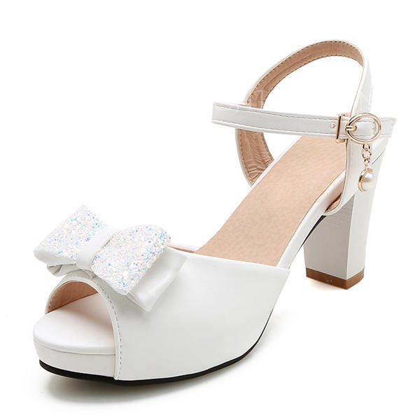 Women's Leatherette Chunky Heel Sandals Platform Peep Toe With Bowknot shoes