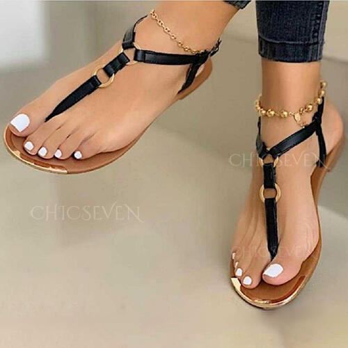 Women's PU Flat Heel Sandals Flip-Flops shoes