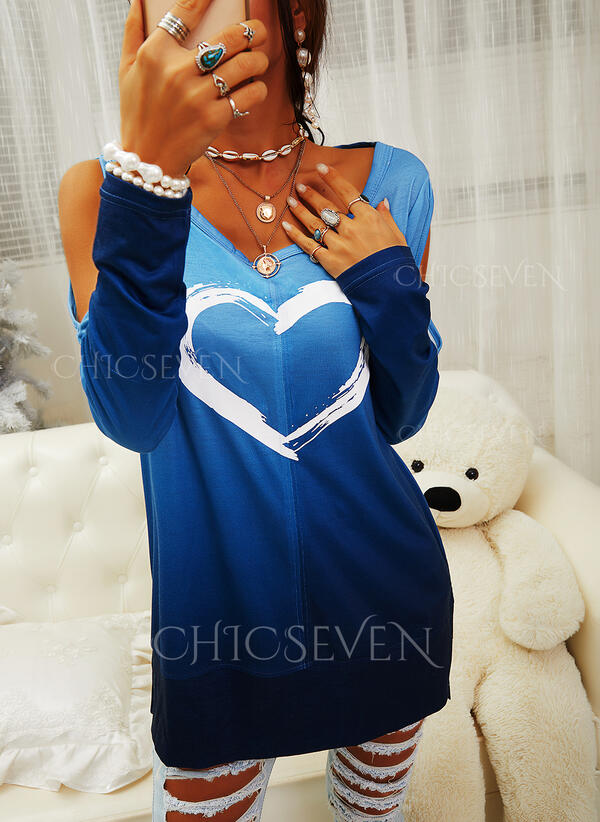 Print Gradient Heart Cold Shoulder Long Sleeves Casual Blouses