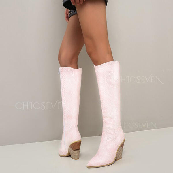 Women's Leatherette Chunky Heel Knee High Boots Pointed Toe With Animal Print shoes