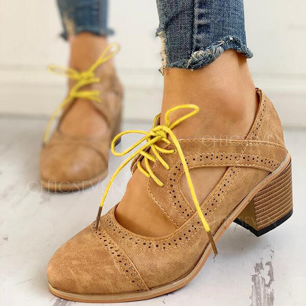 Women's PU Chunky Heel Pumps With Lace-up shoes