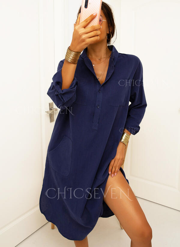 Solid Long Sleeves Shift Shirt Casual Maxi Dresses