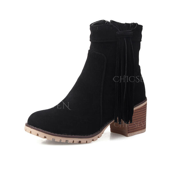 Women's PU Chunky Heel Ankle Boots Round Toe With Tassel shoes