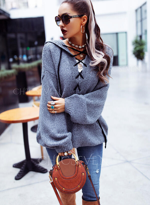 Solid Hooded Oversized Casual Sweaters