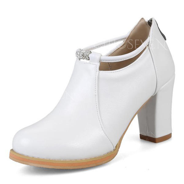 Women's Leatherette Chunky Heel Boots Closed Toe
