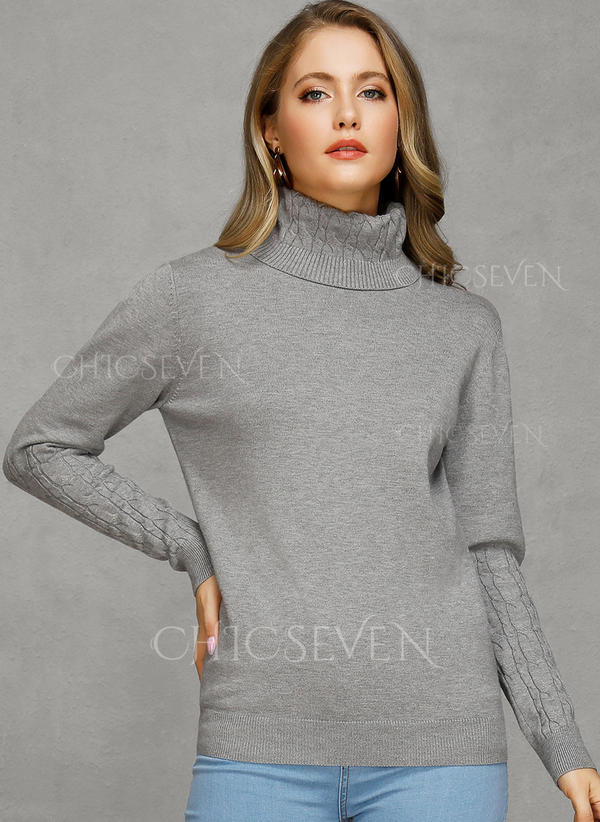 Solid Chunky knit Turtleneck Sweaters