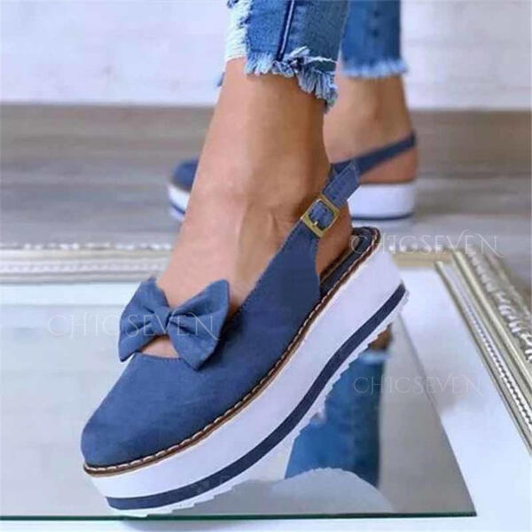 Women's PU Flat Heel Flats Round Toe With Bowknot Buckle shoes