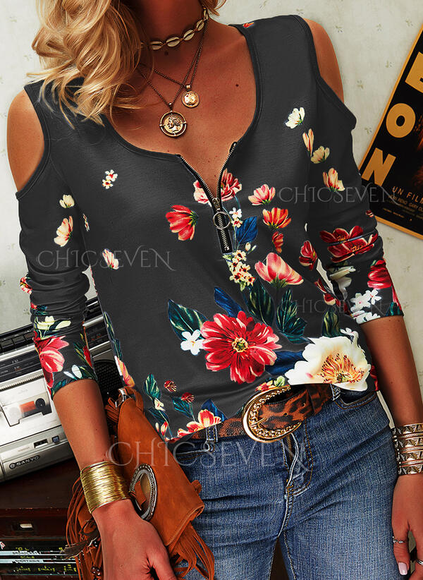 Print Floral Cold Shoulder Long Sleeves Cold Shoulder Sleeve Casual Sexy Blouses