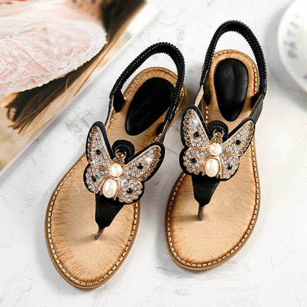 Women's PU Wedge Heel Sandals Flip-Flops Slippers With Butterfly shoes