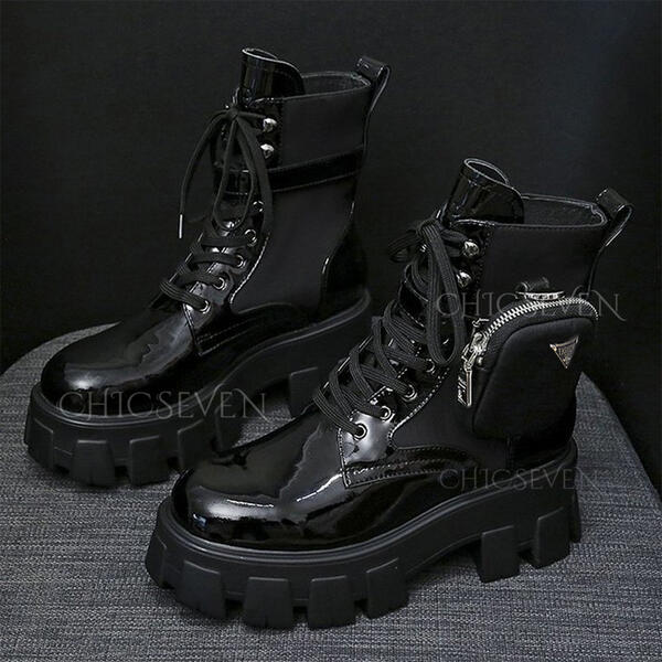 PU Low Heel Flat Heel Chunky Heel Boots Ankle Boots Snow Boots Martin Boots High Top Round Toe With Zipper Lace-up Others Colorblock Solid Color shoes