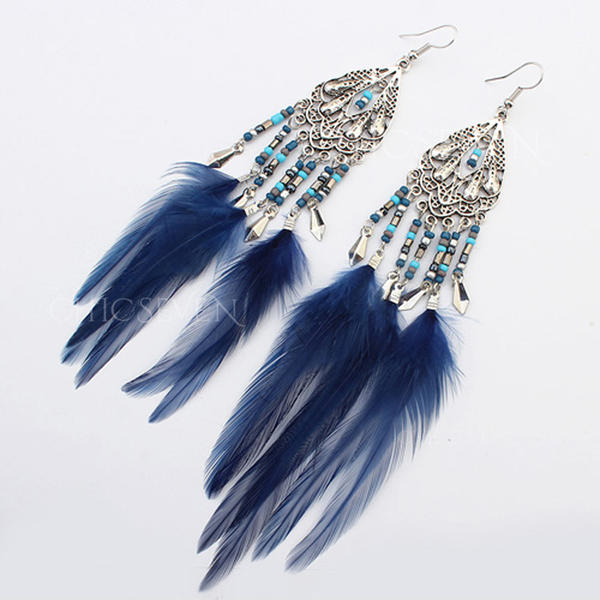 Beautiful Alloy Resin With Feather Ladies' Earrings