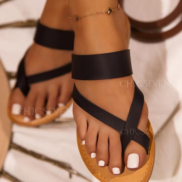 Women's PU Low Heel Sandals Flats Slippers Toe Ring With Solid Color Crisscross shoes