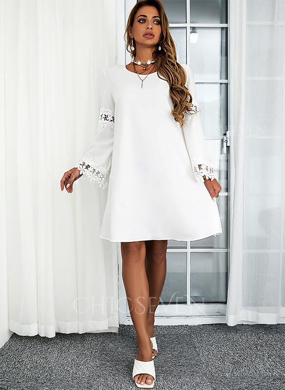 Solid Lace Long Sleeves Flare Sleeve Shift Above Knee Casual Tunic Dresses