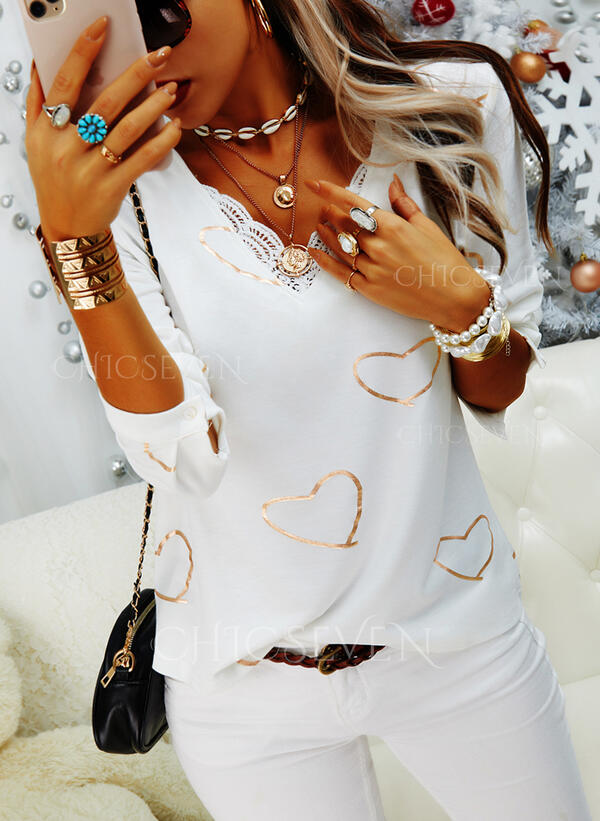 Print Lace Heart V-Neck Long Sleeves Casual Blouses