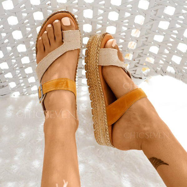 Women's Leatherette Flat Heel Sandals Flats Peep Toe Slippers Toe Ring With Split Joint shoes