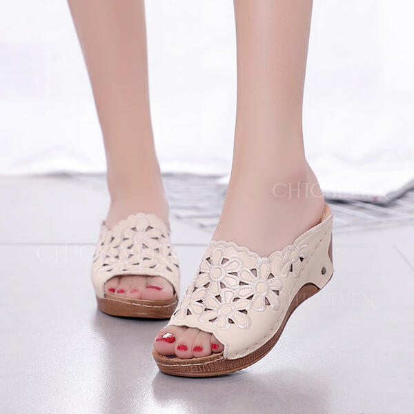 Women's Leatherette Wedge Heel Sandals Platform Peep Toe Slippers With Hollow-out Flower shoes