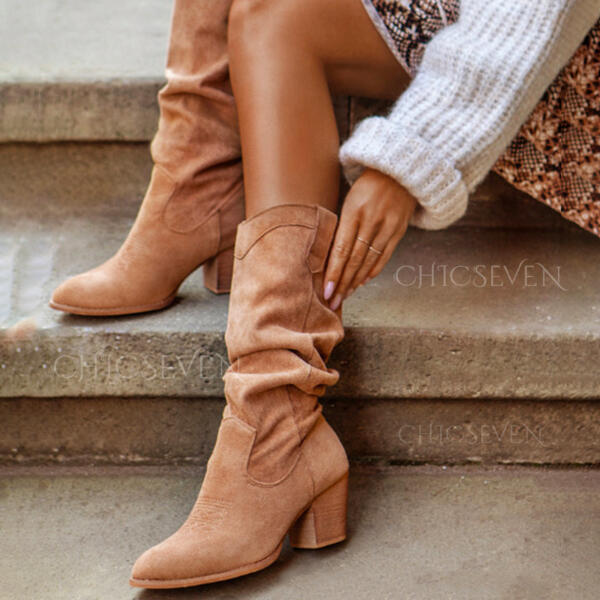 Women's PU Chunky Heel Mid-Calf Boots Heels Pointed Toe With Ruched Solid Color shoes