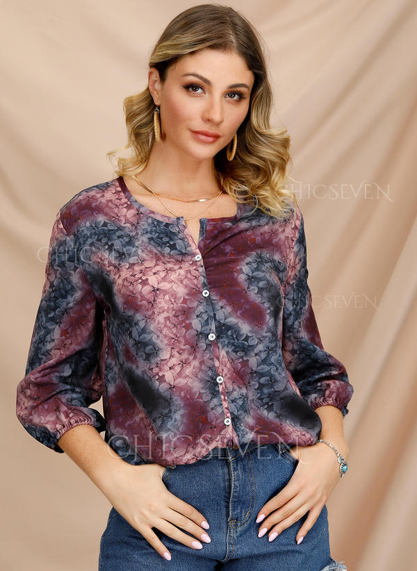 Floral V-Neck 3/4 Sleeves Button Up Casual Elegant Blouses