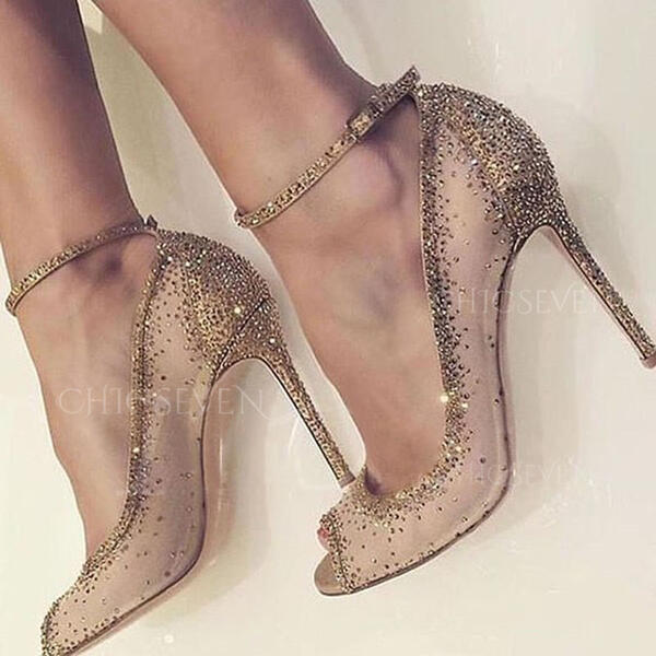 Women's Mesh Stiletto Heel Pumps Peep Toe With Rhinestone shoes