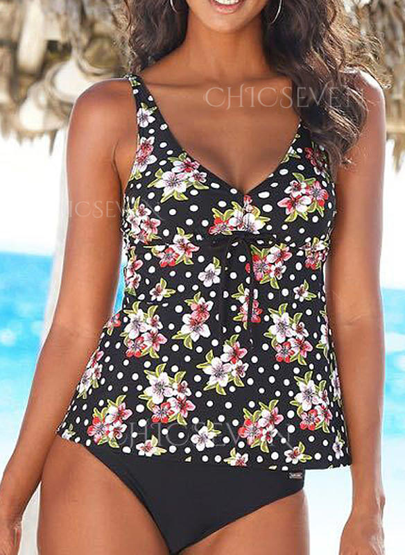 Tropical Print Strap Classic Tankinis Swimsuits