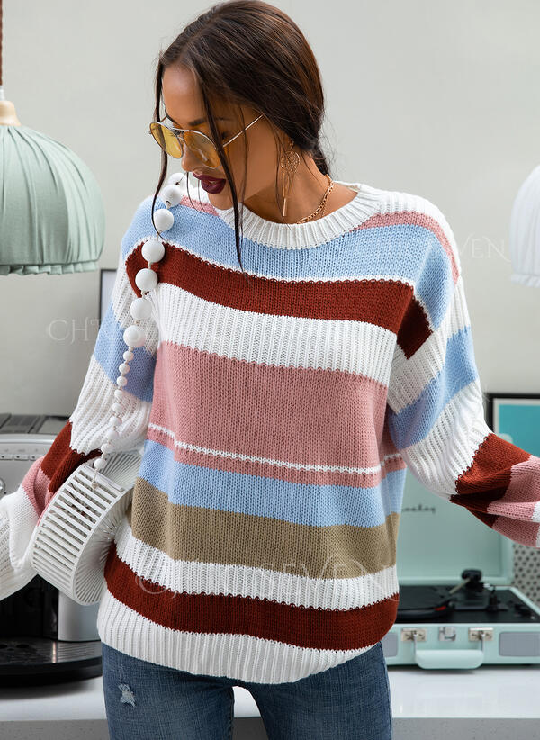 Striped Ribbed Round Neck Casual Sweaters
