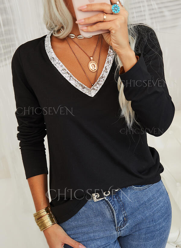 Solid Sequins V-Neck Long Sleeves Casual Blouses