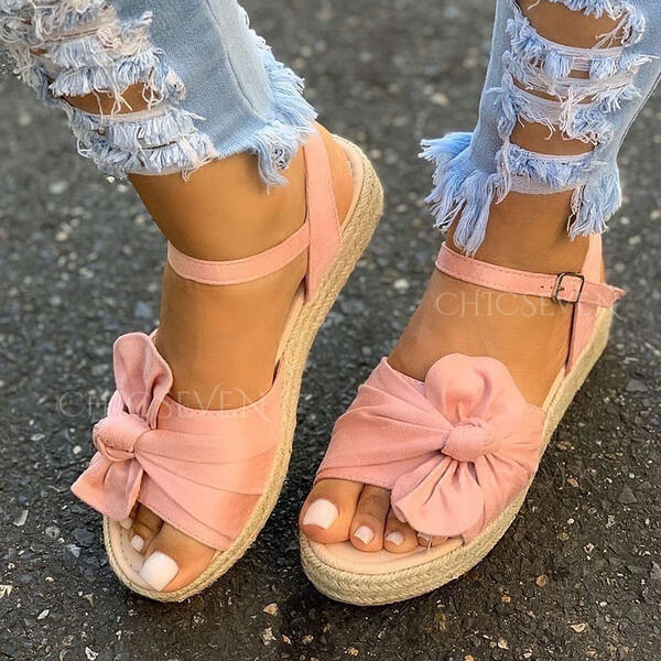 Women's Cloth Flat Heel Sandals Platform Wedges Peep Toe With Bowknot Buckle Hollow-out shoes