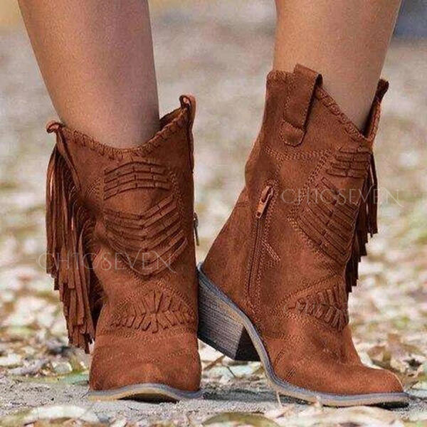 Women's Suede Chunky Heel Boots With Tassel Solid Color shoes