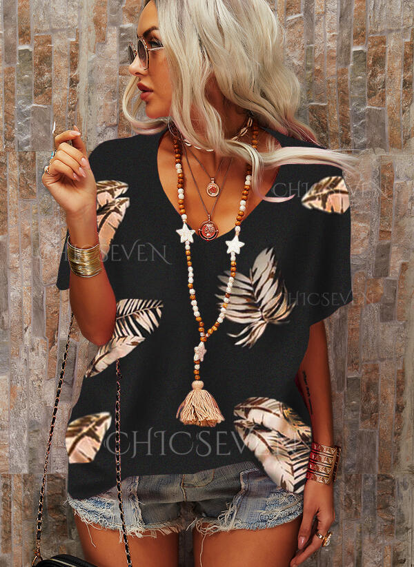 Print Feather V-Neck Short Sleeves T-shirts