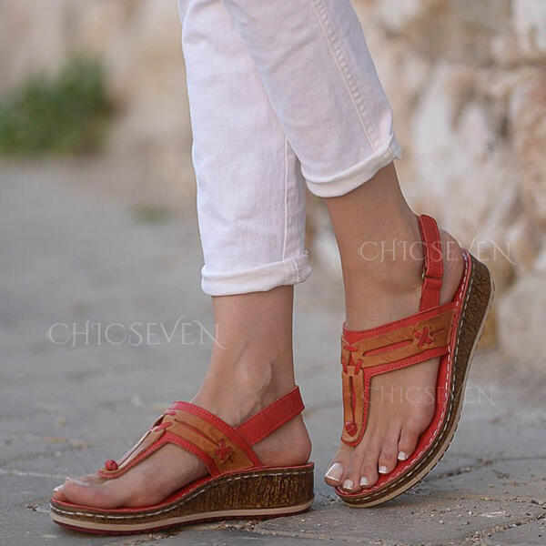 Women's PU Wedge Heel Sandals Flip-Flops With Solid Color shoes