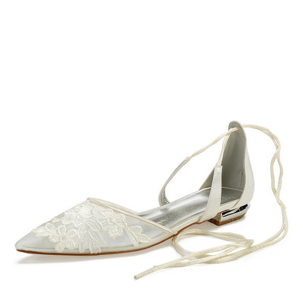 Women's Mesh Flat Heel Closed Toe Flats With Lace-up Applique