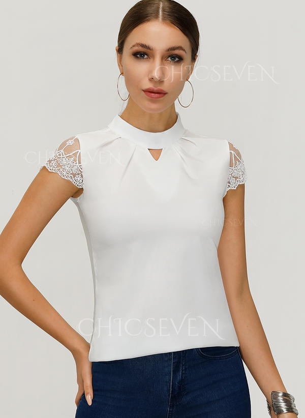 Solid Lace Stand collar Short Sleeves Casual Blouses